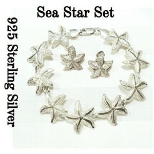 SET 925 Sterling Silver Sea Star Bracelet Earrings